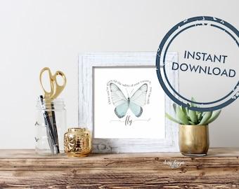 Inspirational watercolour butterfly downloadable wall art