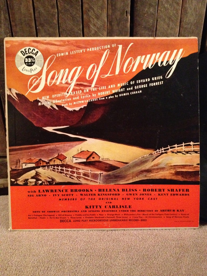 SALE! Song Of Norway - Edvard Grieg- Vinyl Record Album LP - Released 1949  - Decca Records - DLP 8002