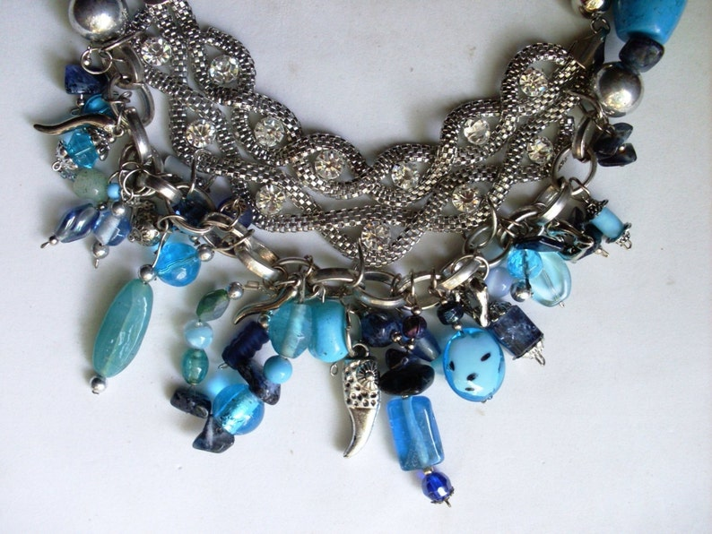 Bib Necklace Italian Statement Necklace Turquoise /& Natural Stones Runway Necklace Boho Necklace Gypsy Necklace Jewelry 1970s