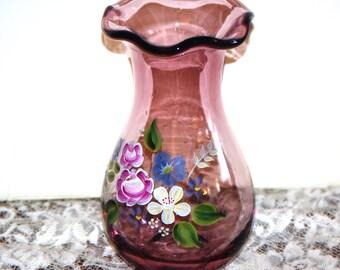 Hand Painted Purple/Amethyst Vase by Telefora designed by Fenton, 1990