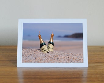 congratulations card, beach card, champagne bottle, new home, wedding card, engagement card, graduation card, beach photography, surf card