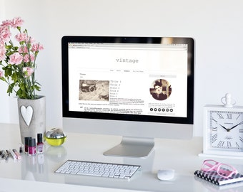 Vintage - WordPress Theme Premade Blog Template Design - Social Media Icons Gift