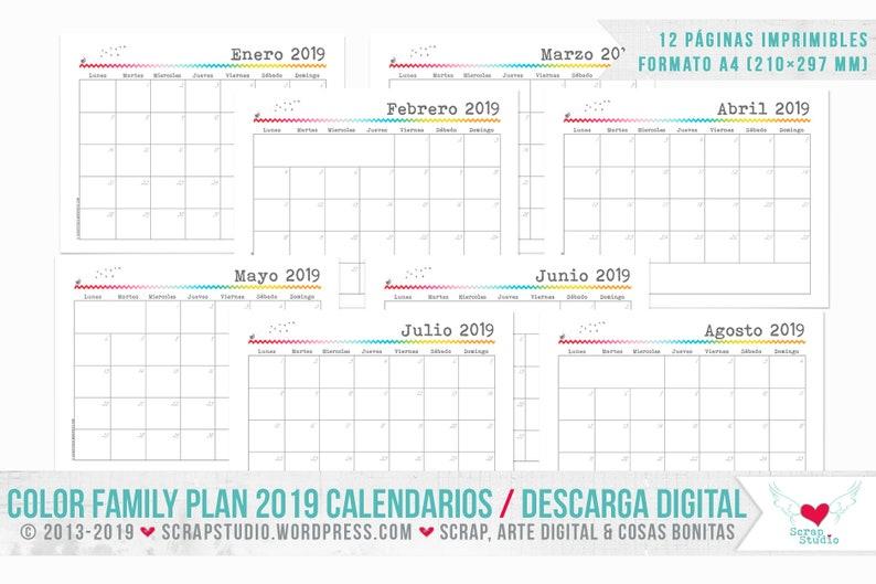 Pagina Calendario Agosto 2019.Calendario 2019 In Spagnolo 12 Pagine Estratte Dal Piano Famiglia Di Colore A4 Scarica Istantanea Digitale