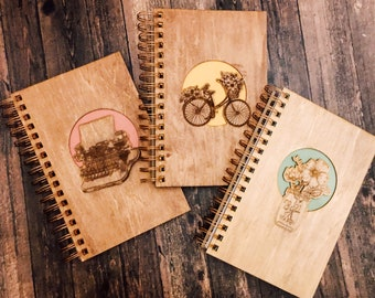 Wooden notebook, blank page journal, rose gold spiral bound guestbook