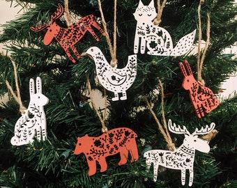 Scandinavian woodland animal ornaments, set of five, Christmas gifts