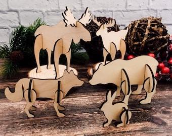 Woodland animals 3D puzzle, Christmas DIY craft/decor, set of five animals