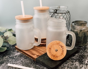 Frosted glass mason jar tumbler, personalized wooden lid, reusable to go straw