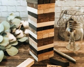 Wooden tumble tower, stained block game, wedding guestbook alternative
