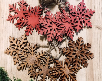 Wooden unique snowflake ornaments, set of five, Christmas gifts