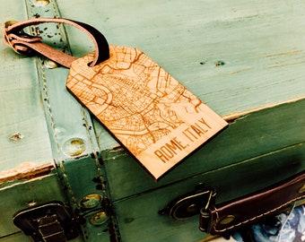 Custom Wooden Luggage Tag