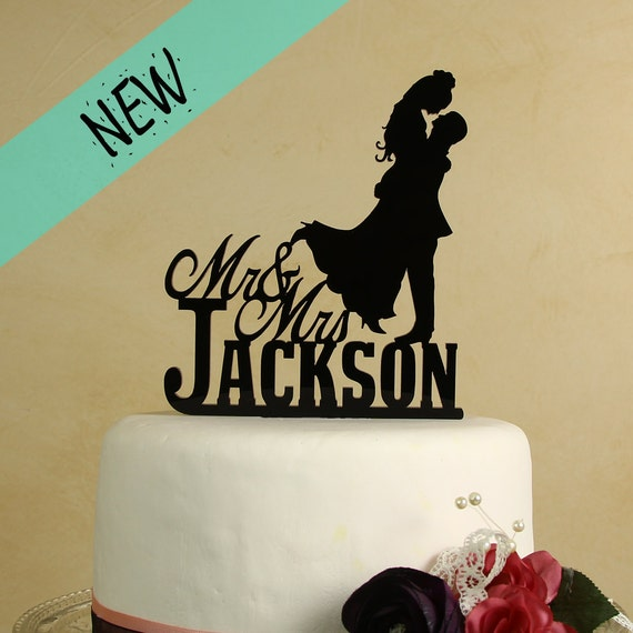 Mr and Mrs Wedding Cake Topper with Silhouette couple | Etsy