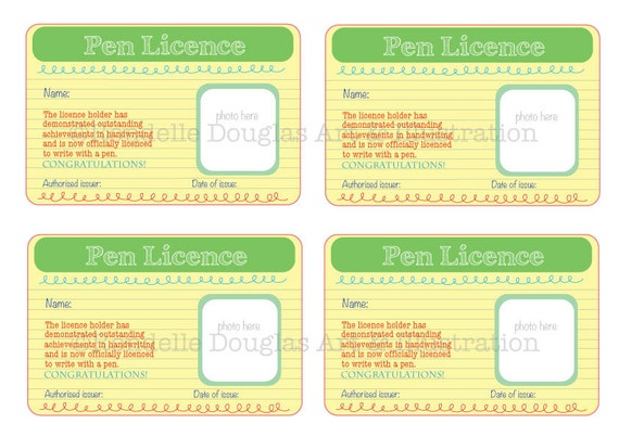 Pen Licence Teaching Tool Student Encouragement For