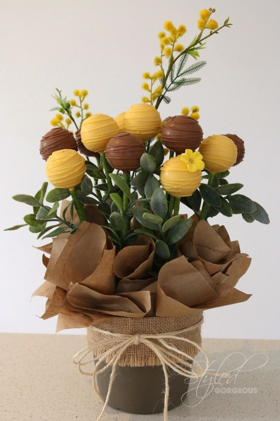 RUSTIC BLOOMS Cake Pops Floral Arrangement Bouquet Gift In