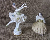 Pair of Vintage Porcelain Ballerina Figurines Dresden Volkstedt