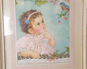 Adorable little girl picture, girl with bird, baby-blue, pink, 3D accents, Vintage nursery decor, vintage home decor