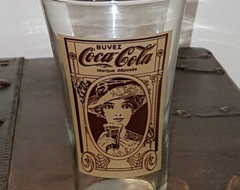 Vintage Coca-Cola Flair Glass in French, Vintage Recreation of the Original Flair Coca Cola Glass,