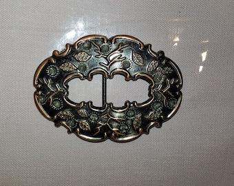Vintage belt buckle, copper color, leaves and branches, vintage accessories, vintage fashion
