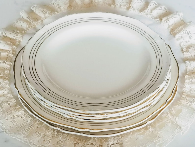 d009f42dea36b Vintage 1930's Lot of woods Ivory Ware plates, Made in England,  ivory/off-white, gold strips/trim, vintage dinnerware, china replacement