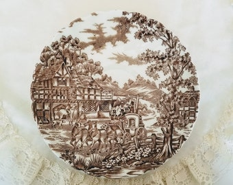 Orphaned Saucers, Myott Coaching Days, Coach and horses, English Inn, Brown Transferware, vintage dinnerware/breakfast, replacement china