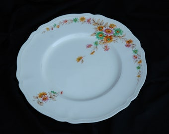 RARE Johnson Brothers (1910's), Old Staffordshire, Jersey, dinner plates, daisies, pink, orange, green, brown leaves, flowers
