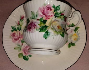 Vintage Royal Devon teacup and saucer, beautifully ribbed, roses pattern, gold rimmed, vintage tea party, fine bone china, china replacement