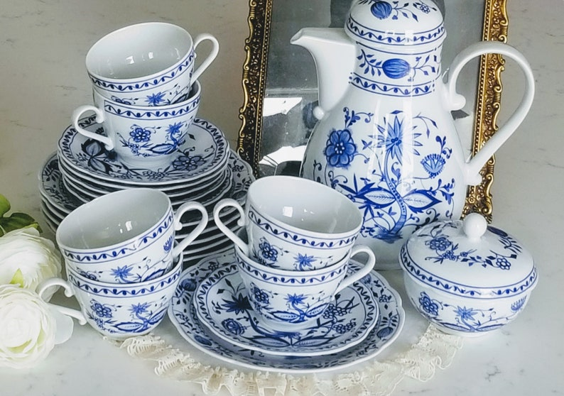Vintage Fisher China Blue Onion Coffee/Tea Set FOR 6, Porcelain Made in East Germany,