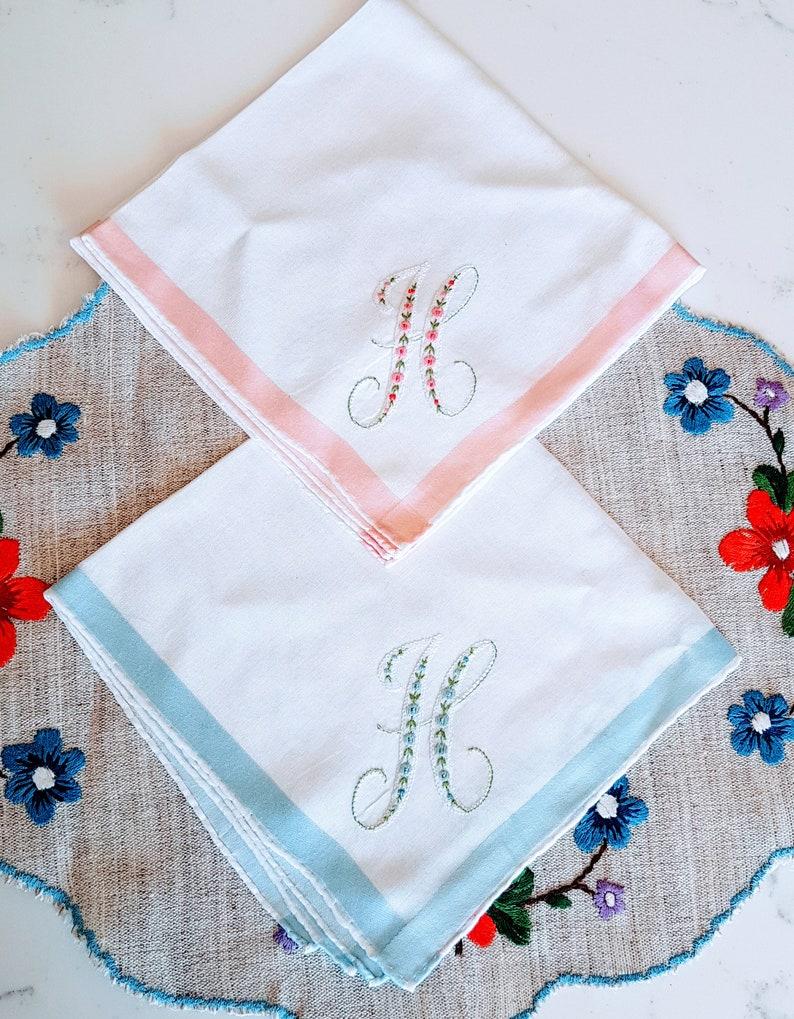 Satin Ribbon flowers Vintage Handkerchief Embroidered Vintage His and Hers Wedding Handkerchiefs pink Set of 2 Hankie blue