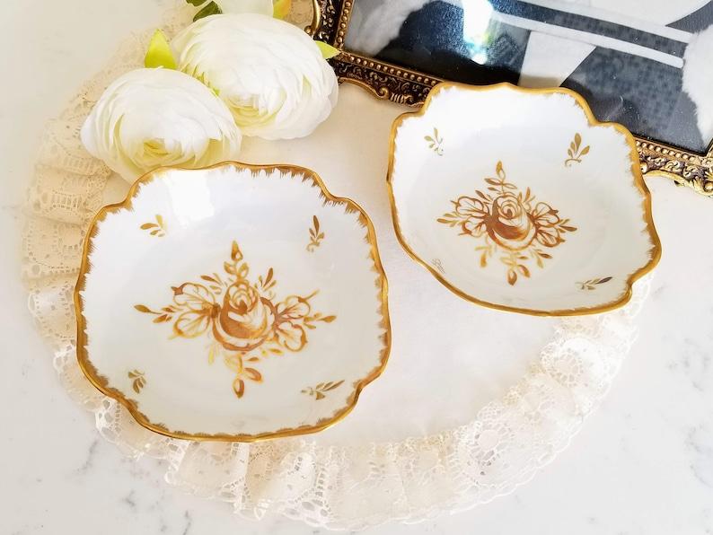 vintage home decorvanity decor Set of 2 Vintage Hand Painted BB TrinketMintRing Dishes Bon Bon Dishes Porcelain Made in France