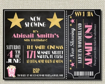 movie night party printables movie night invitation birthday etsy
