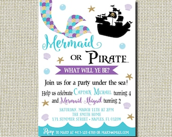 mermaid and pirate invitation mermaid and pirate birthday etsy