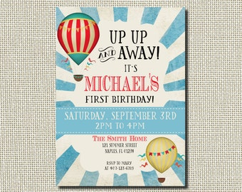 First Birthday Invitation Up Up and Away, Hot Air Balloon First Birthday Invitation, Vintage Invitation, Balloon Invitation, Vintage Balloon
