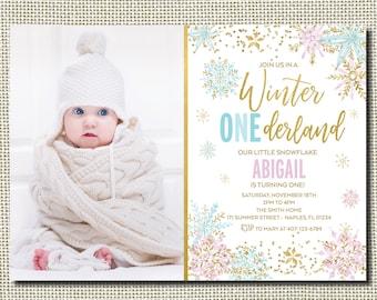 Snowflake Birthday Invitation, Winter Birthday, Snowflake Invitation, Winter ONEderland, First Birthday Invitation, Winter Wonderland