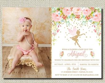 Fairy Birthday Invitation, Magical Fairy Invite, Fairy Invitation, Floral Fairy Invitation, Blush Pink Gold Fairy Party, Fairies, Fairy