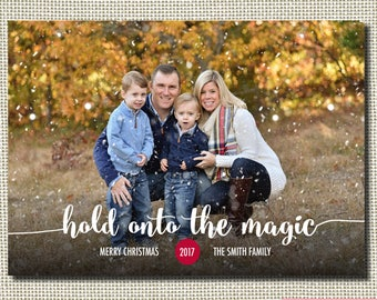 Christmas Card, Holiday Card, Classic Christmas Card, Hold Onto The Magic, Rudolph, Multiple Pictures, Holiday Christmas Card, Photo