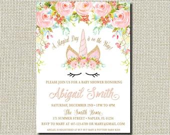 Unicorn Baby Shower Invitation, Magical Unicorn Invite, Floral Unicorn Invitation, Unicorn Face, Baby Shower Invitation, Unicorn Shower
