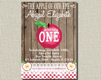 Apple Invitation Birthday Fall Party Of My Eye Shabby Chic Rustic Apples