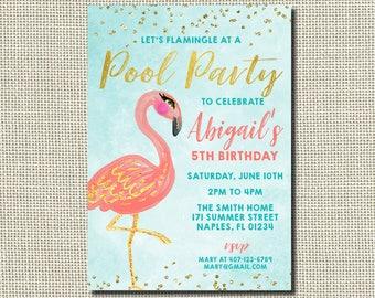 Flamingo Birthday Invitation, Flamingo Invitation, Pool Party Invitation, Flamingo Pool Party, Pink Flamingo, Glitter, Pink and Gold