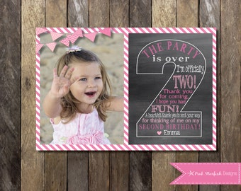 Chalkboard Thank You Card First Birthday Thank You The Big Etsy