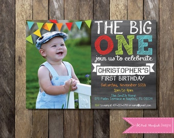 Chalkboard First Birthday Invitation With Picture Rainbow The Big One 1st