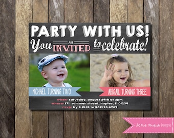 Joint birthday etsy chalkboard birthday invitation with picture dual birthday invitation sibling friend twins girls boys birthday party printable invite filmwisefo