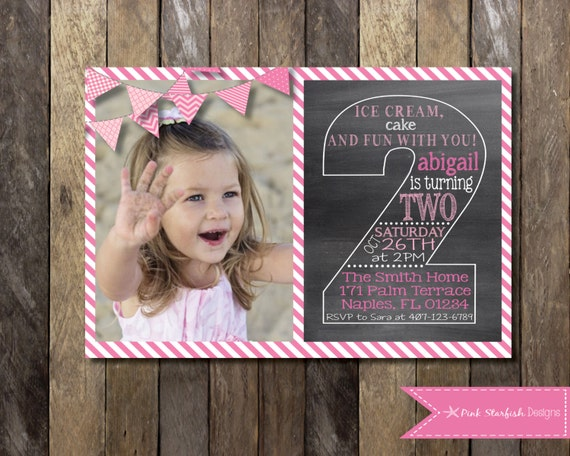 Chalkboard Second Birthday Invitation Second Birthday Etsy