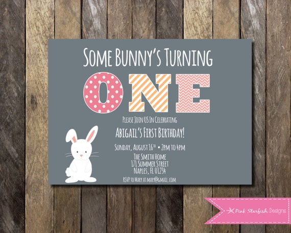 Bunny First Birthday Invitation 1st