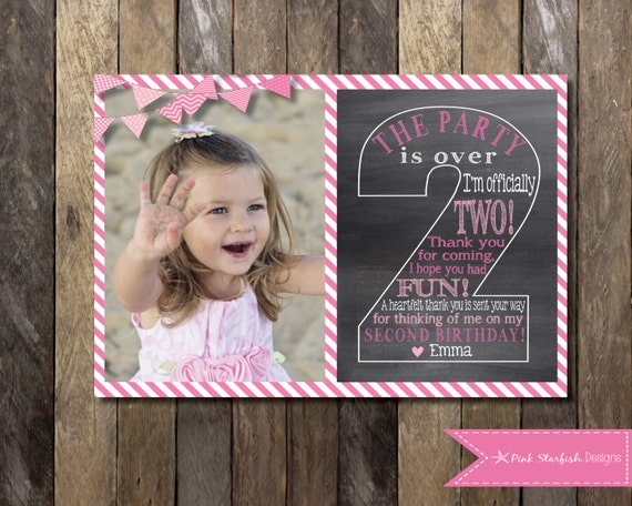 Chalkboard Thank You Card Second Birthday Thank You Two Etsy