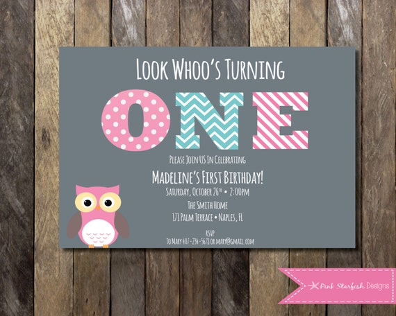 Owl First Birthday Invitation Owl Birthday Invitation First Etsy