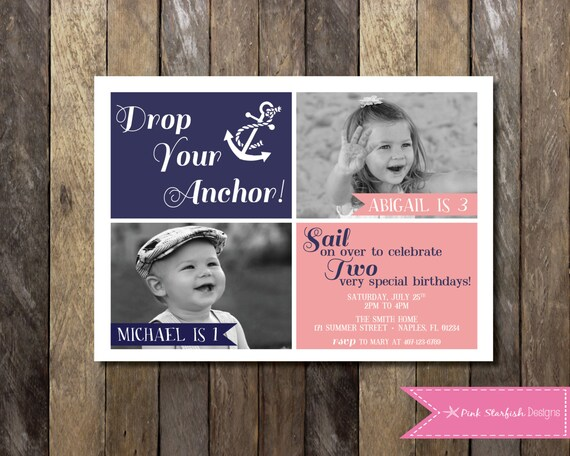 Nautical Birthday Invitation With Picture Joint