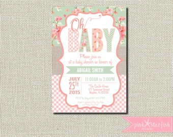 Baby Shower Invitation, Burlap Baby Shower Invitation, Shabby Chic Baby Shower Invitation, Shabby Chic Invitation, Burlap, Shabby Chic
