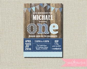 Rustic First Birthday Invitation,  Shabby Chic Invitation, First Birthday Invitation, Shabby Chic Invitation, Wood Invitation, Shabby Chic