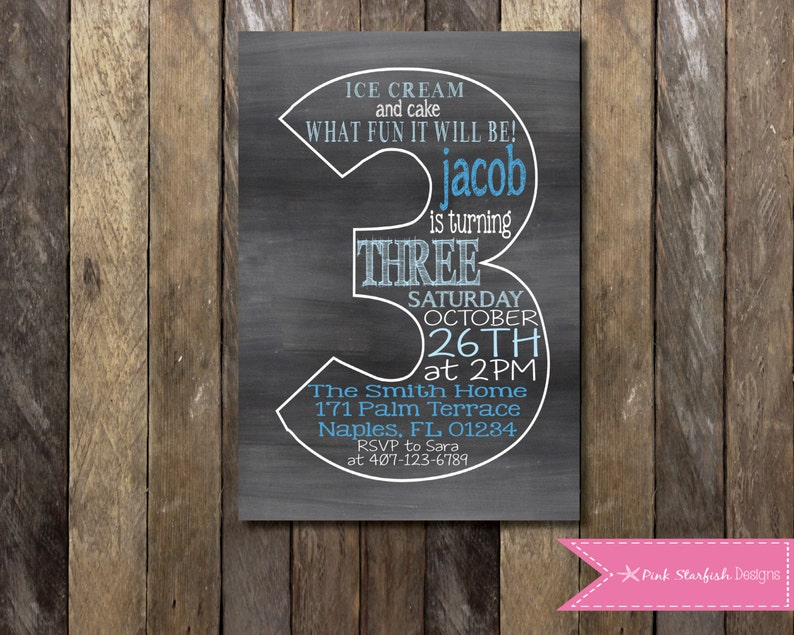 Lace Chalkboard Printable Photocard Birthday Party Invitation