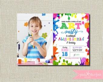 Art Party Invitation, Chalkboard Rainbow Art Party Invitation, Paint Party Invitation, Rainbow Invite Paint Splatter, Birthday Party