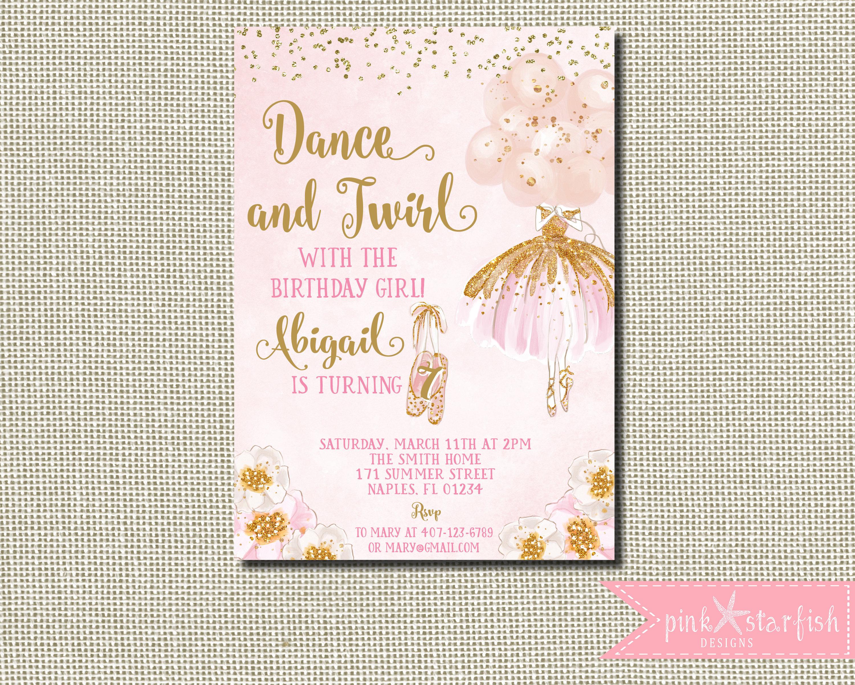 Ballerina Invitation Ballerina Birthday Pink and Gold Tutu | Etsy